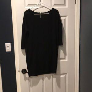 Velvet 3/4 sleeve black dress